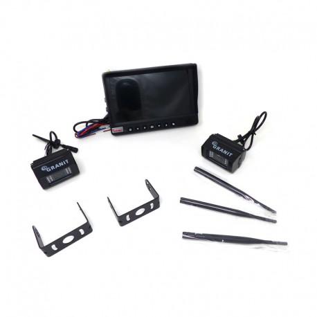 """Kit Granit Retrocamera Retromarcia Senza Fili Monitor a colori 9"""" e 2 Telecamere per Trattori Macchine Agricole Mezzi Pesanti"""