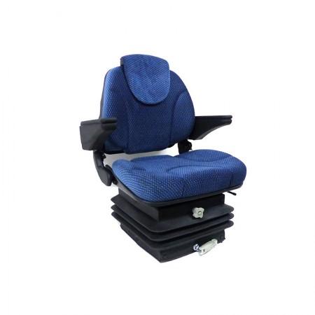 Sedile Activo in Velluto Blu con Molleggio Meccanico con Braccioli e Poggiatesta